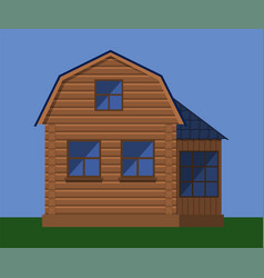 Wooden house with attic vector