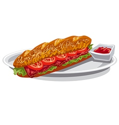 French baguette sandwich vector