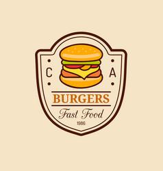 vintage fast food logo burge sign bistro vector image
