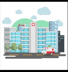 Hospital emergency building city background vector