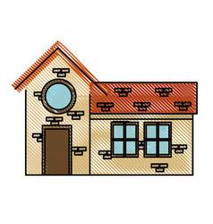 drawing house door round window brick residential vector image