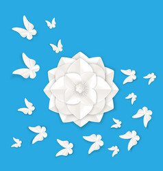 Flora origami elements of luxury white flower and vector