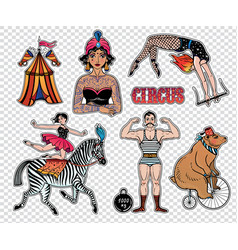 Set of vintage circus stickers patches elements vector