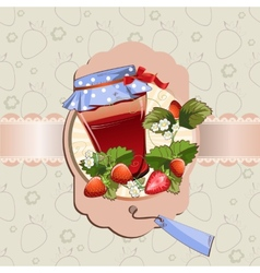 Strawberry jam jar vector