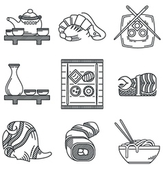Japanese menu black line icons vector