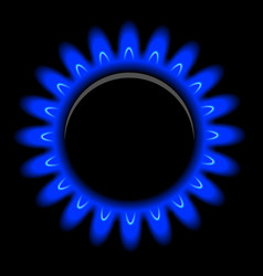 Flames of gas on black vector