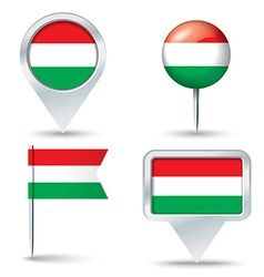 Map pins with flag of hungary vector