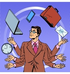 Time management businessman gadgets business vector