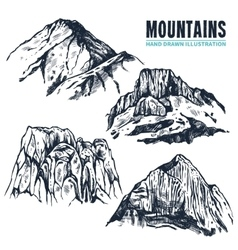 Hand drawn mountains contours vector