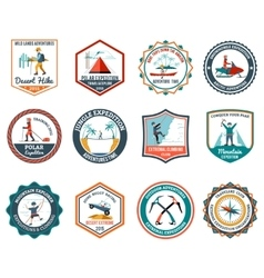 Expedition emblems set vector