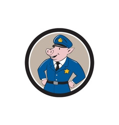 Policeman pig sheriff circle cartoon vector