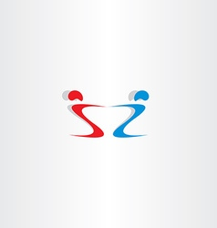 Letter s and z people holding hand logo vector