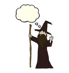 Cartoon old wizard with thought bubble vector