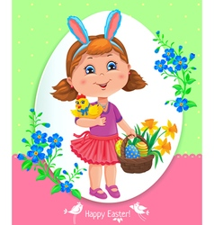 Easter card with girl vector