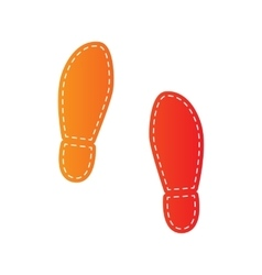 Imprint soles shoes sign orange applique isolated vector