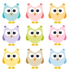 Set of owls isolated on white vector