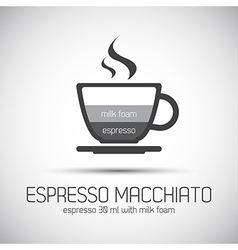Cup of espresso macchiato simple icons vector