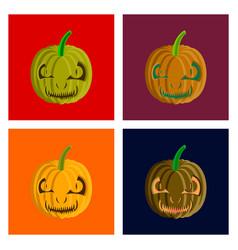assembly flat halloween pumpkin emotions vector image vector image