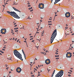 Beautiful birds and flower berries pattern vector image
