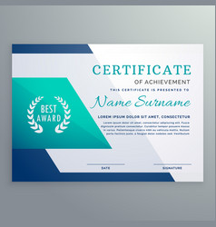 Blue certificate design template in geometric vector