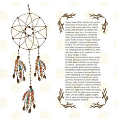 Boho dream catcher in ethnic style design vector