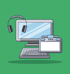 computer headphones and device for design gadgets vector image