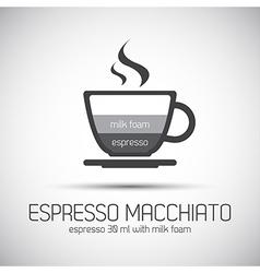 Cup of espresso macchiato simple icons vector