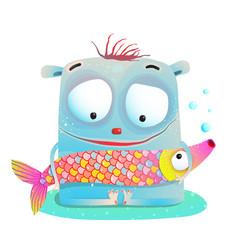 cute kids monster holding fish vector image
