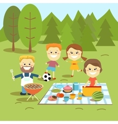 Family weekend happy family picnic vector