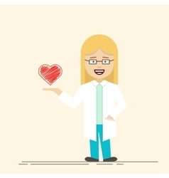 Female doctor or nurse with heart in her hand vector image