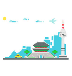 flat design seoul landmarks set background vector image