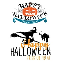 Halloween themes with witch and pumpkins vector image