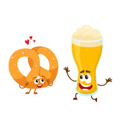 Happy aluminium beer glass and pretzel characters vector