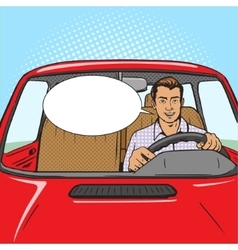 Man drive car pop art style vector