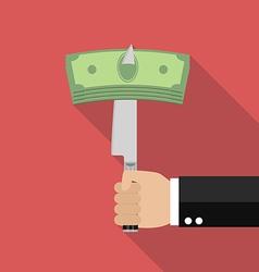 Man knifed money bill vector