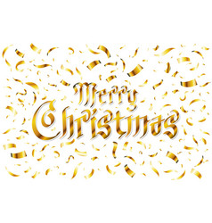 merry christmas - gold glittering lettering vector image vector image