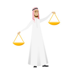 Muslim businessman holding balance scale vector