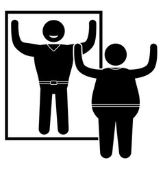 obese man standing at the mirror vector image