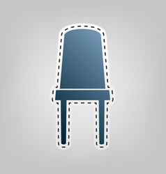 Office chair sign blue icon with outline vector