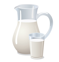 pitcher with milk vector image vector image