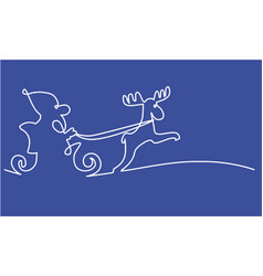 santa claus one line drawing vector image