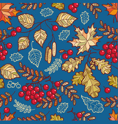 Seamless pattern autumn deciduous ornament vector