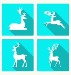 set of silhouette deer vector image vector image