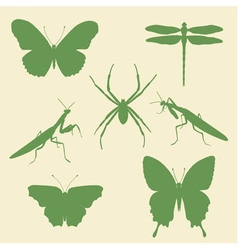 set of silhouettes of insects - butterflies spider vector image vector image