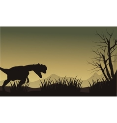 Silhouette of one dilophosaurus in hills vector