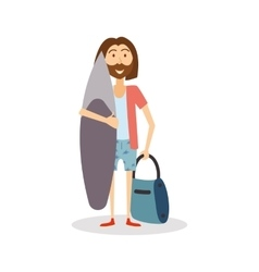 Surfer ready to travel hipster man goes on vector