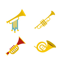 trumpet icon set flat style vector image