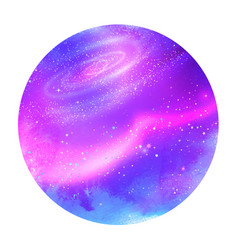 violet circle background with outer space vector image vector image