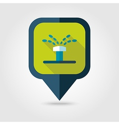 Water sprinkler irrigation flat pin map icon vector