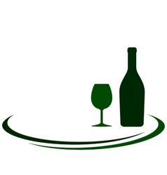 Wine bottle with glass and place for text vector